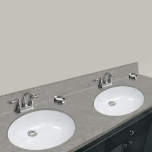 """Riverbed 61""""W x 22""""D x 11""""H Cultured Marble Vanity Top with Double Oval Bowls"""