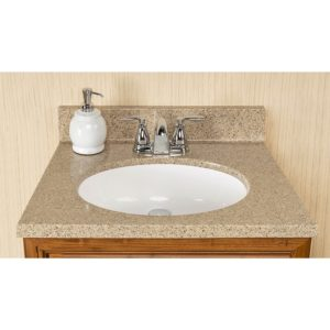 """Sandstone 25""""W x 19""""D x 11""""H Cultured Marble Vanity Top with Oval Bowl"""