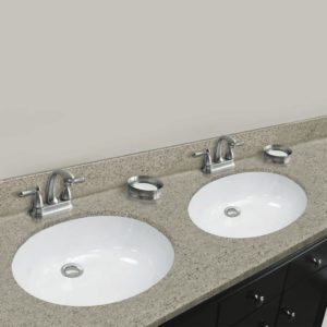 """Sandstone 73""""W x 22""""D x 11""""H Cultured Marble Vanity Top with Double Oval Bowls"""