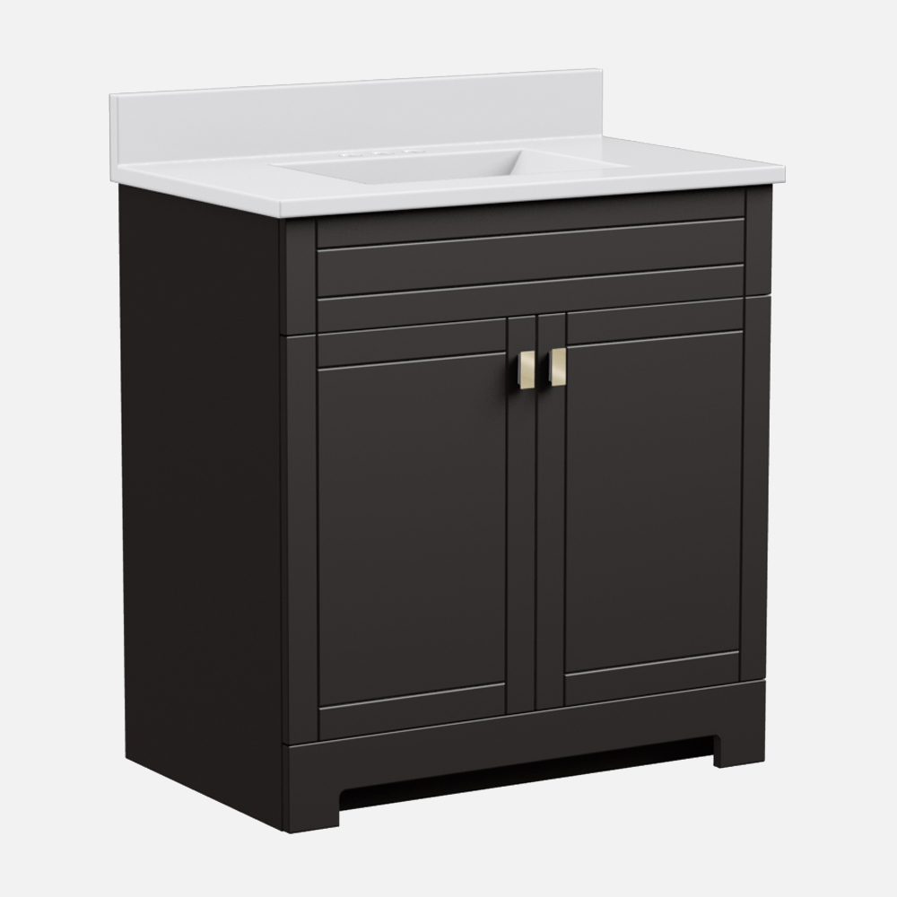 """Uptown 31""""W x 19""""D x 36 3/4""""H Deep Brown Vanity and White Cultured Marble Vanity Top with Rectangular Integrated Wave Bowl"""