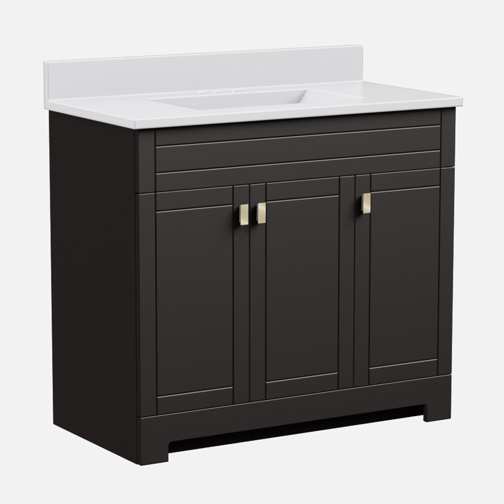 """Uptown 37""""W x 19""""D  x 36 3/4""""H Deep Brown Vanity and White Cultured Marble Vanity Top with Rectangular Integrated Wave Bowl"""