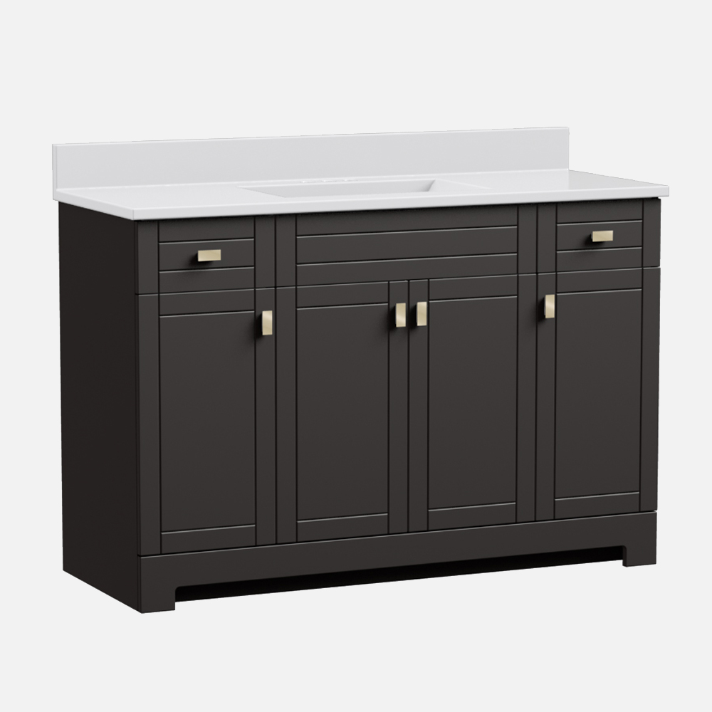 """Uptown 49""""W x 19""""D  x 36 3/4""""H Deep Brown Vanity and White Cultured Marble Vanity Top with Rectangular Integrated Wave Bowl"""